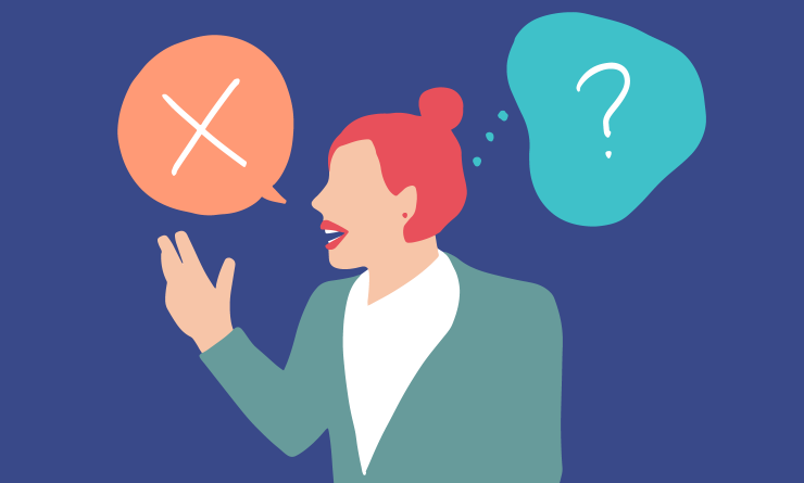 Lady Talking with speech bubble of a cross and exclamation mark about employment